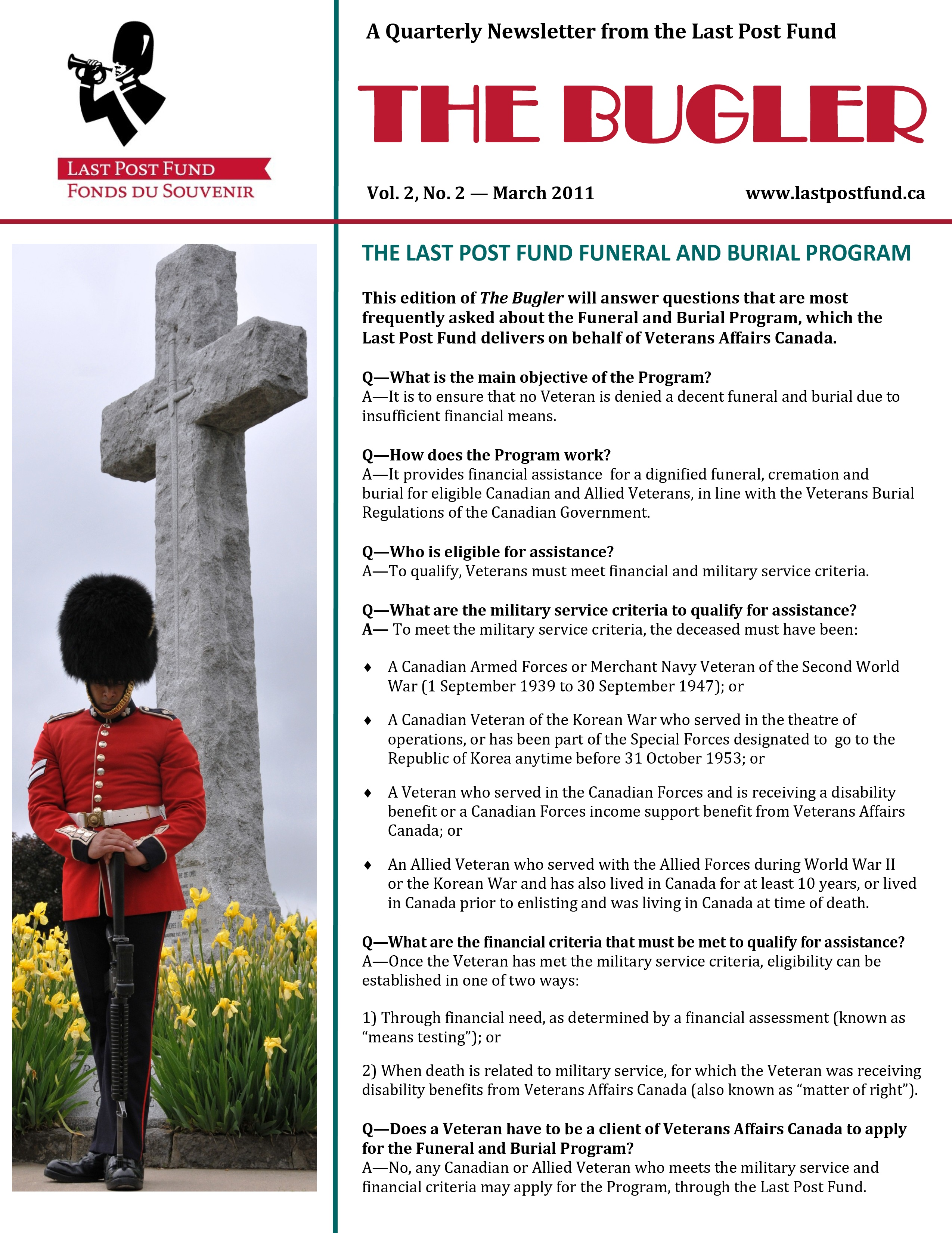 Canadian And Allied Veteran Funeral And Burial Program Funeral Pre