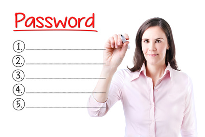 Business woman writing blank Password list. Isolated on white.