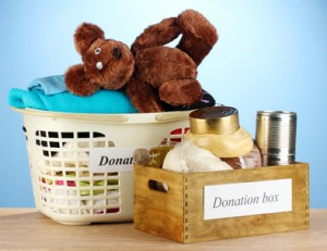 Donation boxes with clothing and food